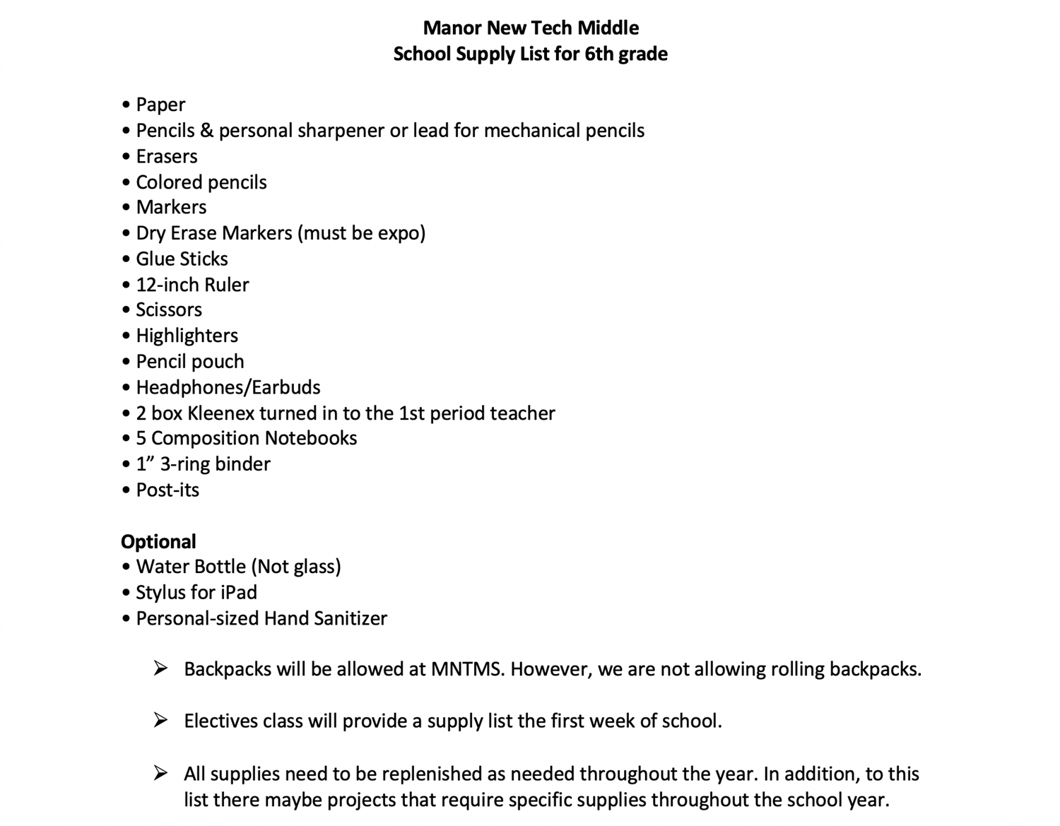 Word document of 6th grade school supplies list