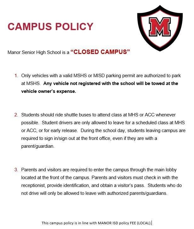 MSHS Campus Policy