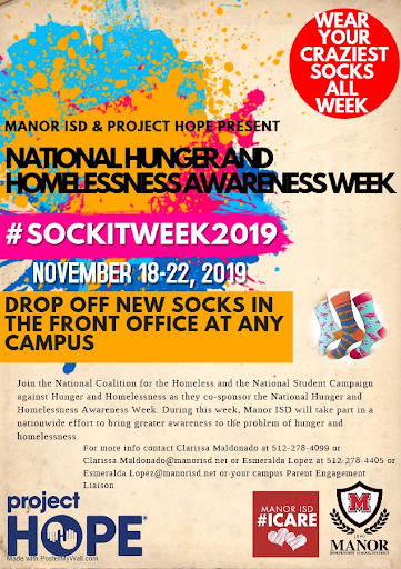 Sock it to it Week:  bring Socks for homeless Nov 18-22
