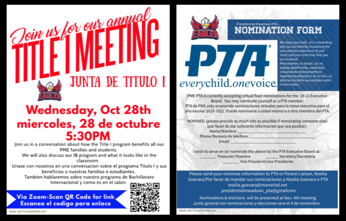 Title 1 Night and PTA Nomination Form