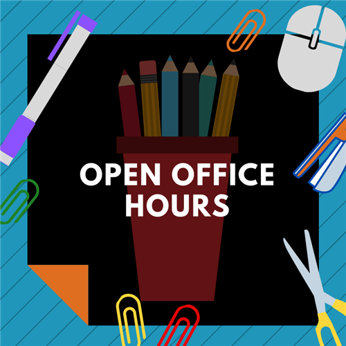 graphic of office hours with pencils, scissors, paper clips, and mouse