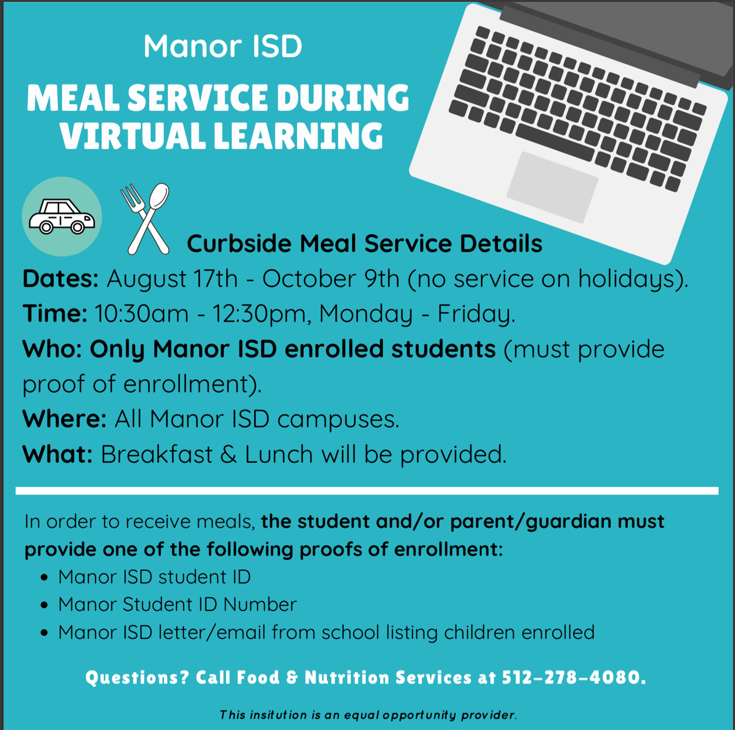 Manor ISD Food Service During Virtual Learning