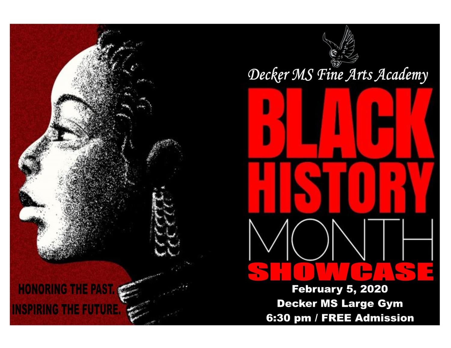 Decker MS Fine Arts Academy Black History Month Showcase