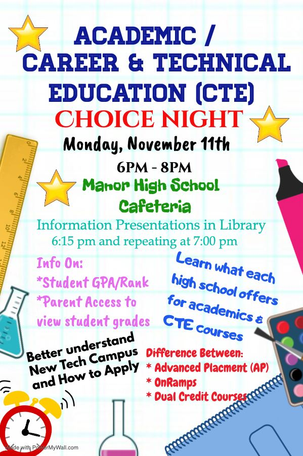 Academic/CTE Choice Night Monday November 11 6-8 pm