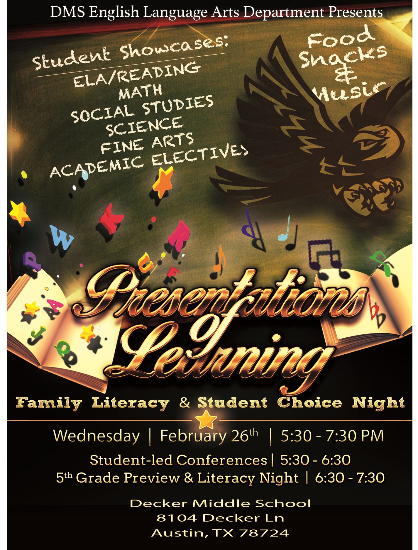 DMS English Language Arts Department   presents   Presentations of Learning  Wednesday | 2.26.20