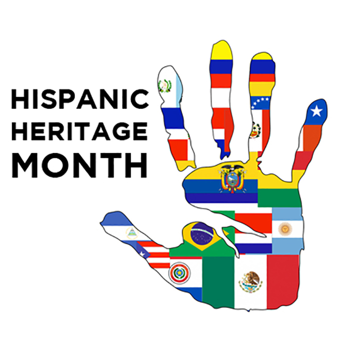 hispanic heritage month handprint with flags