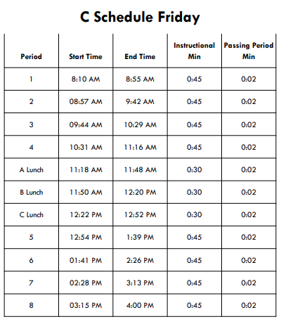 Friday Bell Schedule