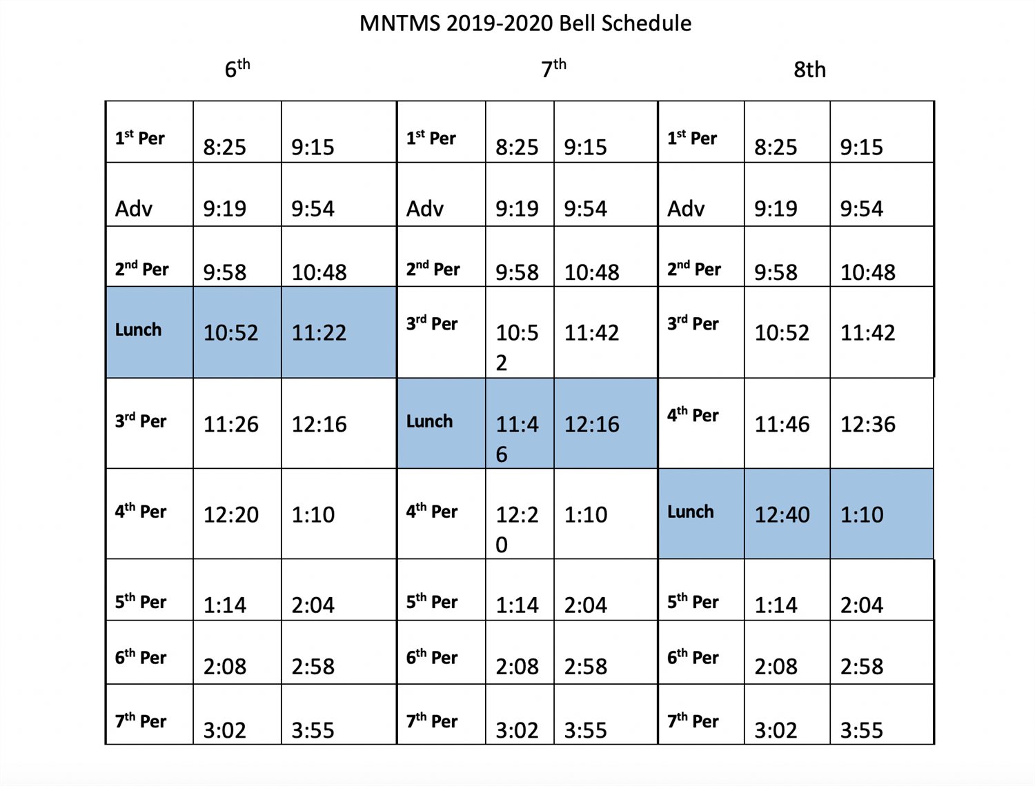 Bell Schedule for MNTMS