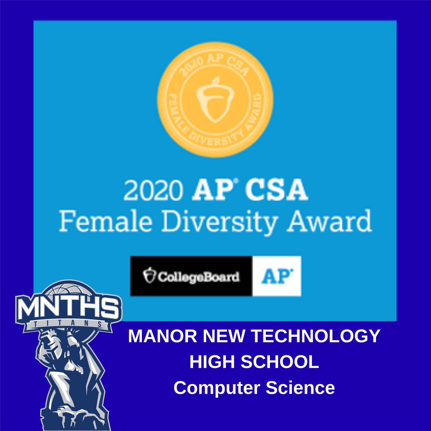 Manor New Technology High School Earns Dual AP® Computer Science Female Diversity Award