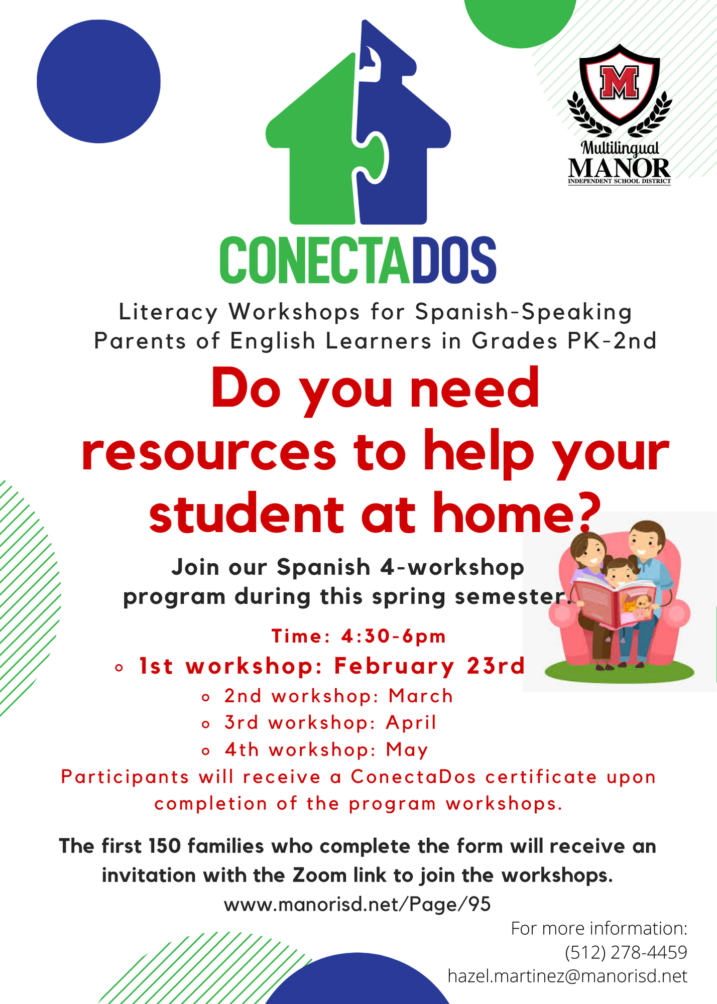 ConectaDos: Literacy Workshops for Spanish-Speaking Parents of English Learners in Pre-K through Se