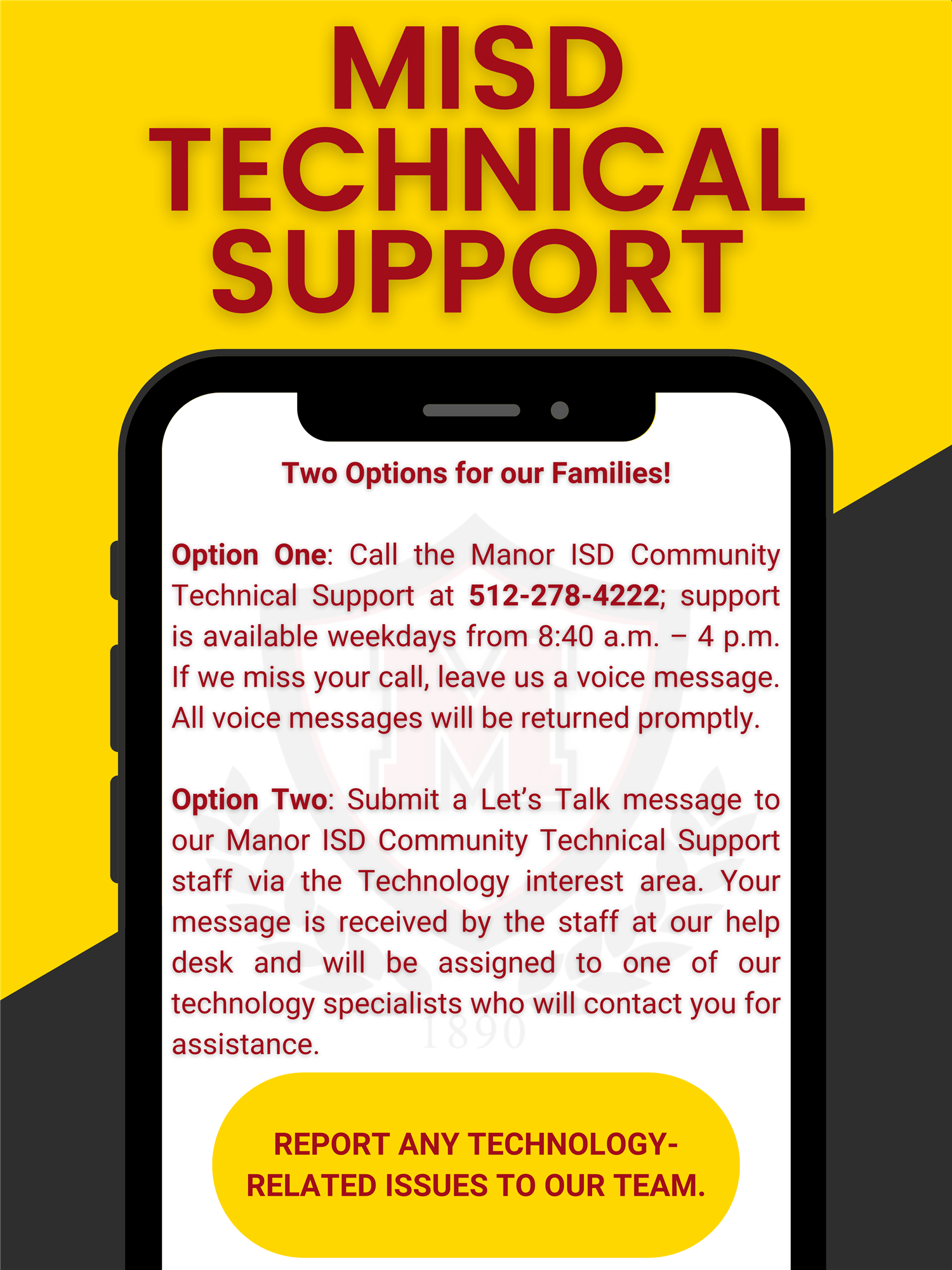 Manor ISD to offer new Technical Support Hotline