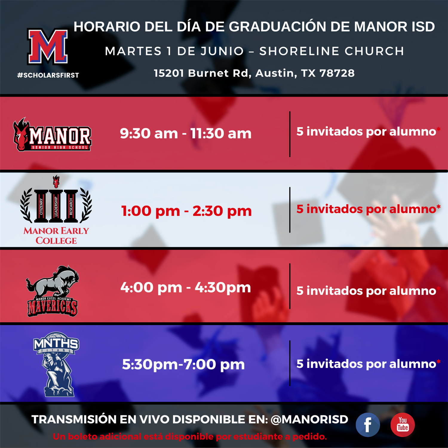 Manor ISD Graduation Day Schedule 2021 Spanish 1.png