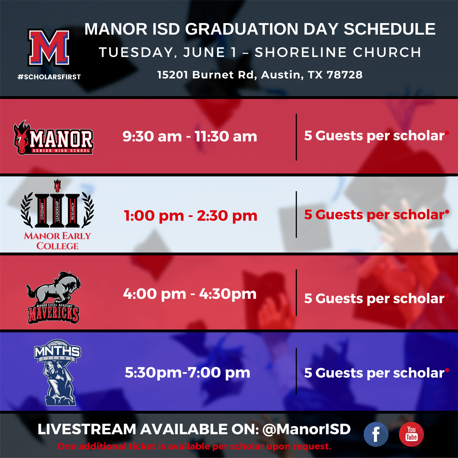 Manor ISD Graduation Day Schedule 2021.png