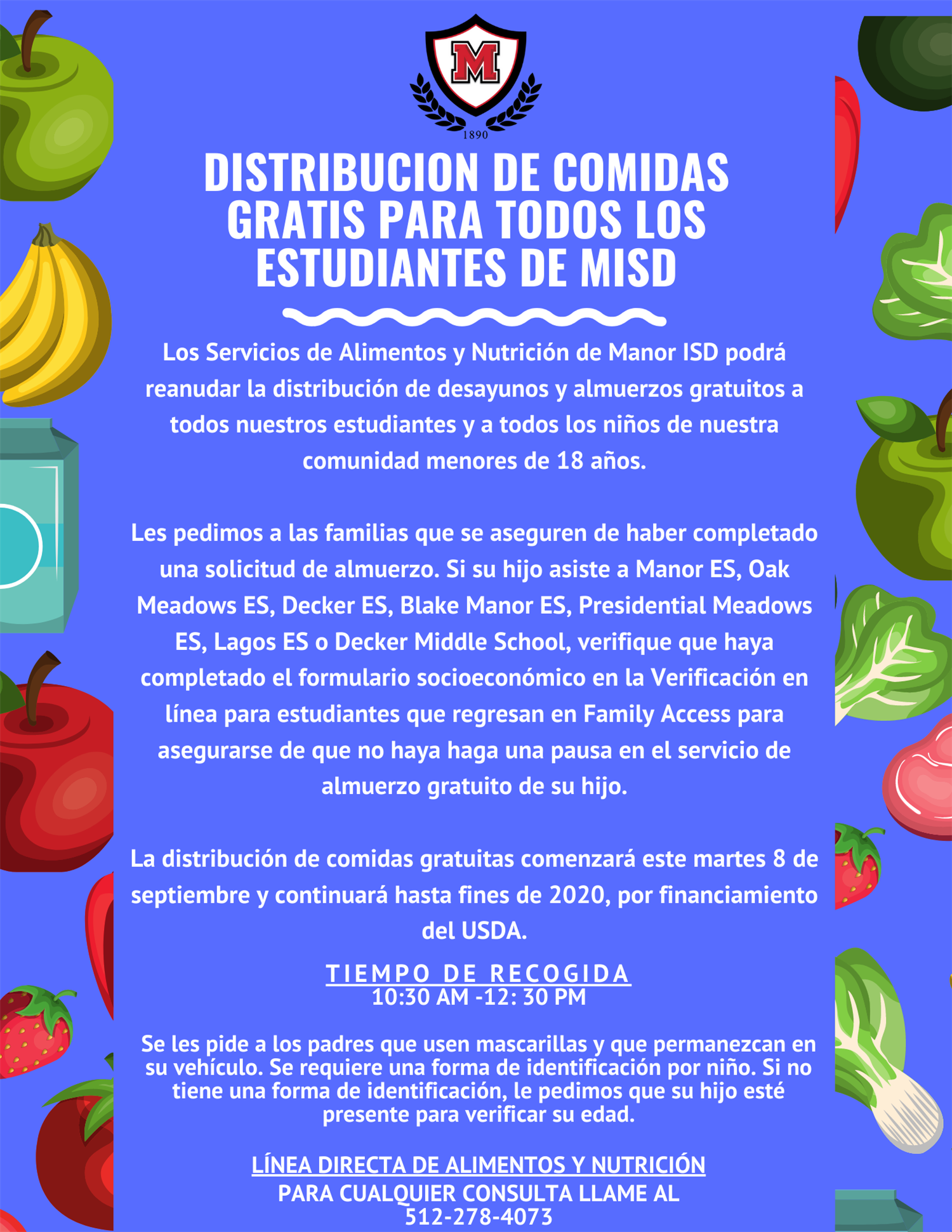 Manor ISD to Distribute Free Meals to All Students Spanish.png