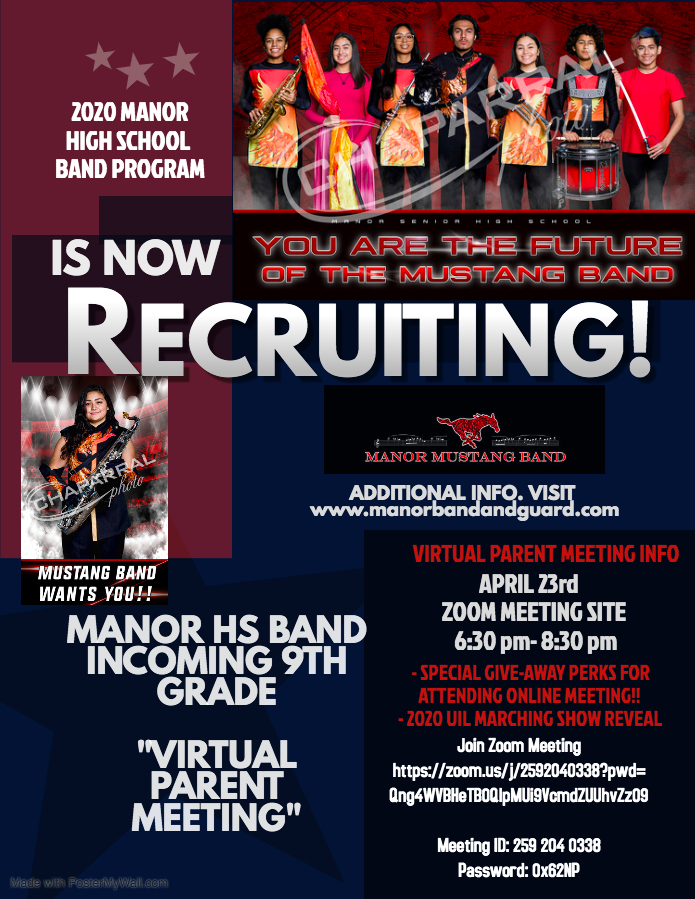 Manor High School Band 2020 Recruitment Information
