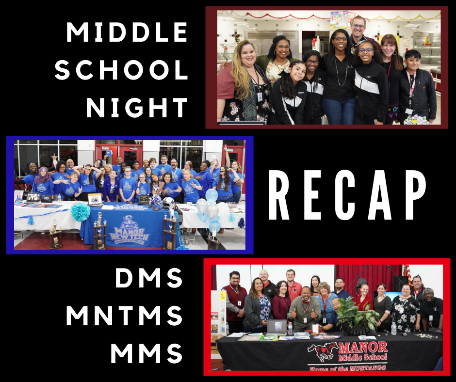 Middle school night recap pictures of all three middle school students and teachers
