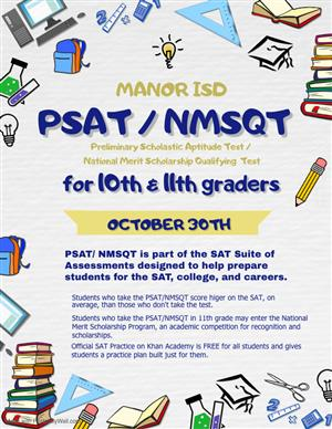 PSAT/NMSQT Exam for 10th and 11th graders October 30