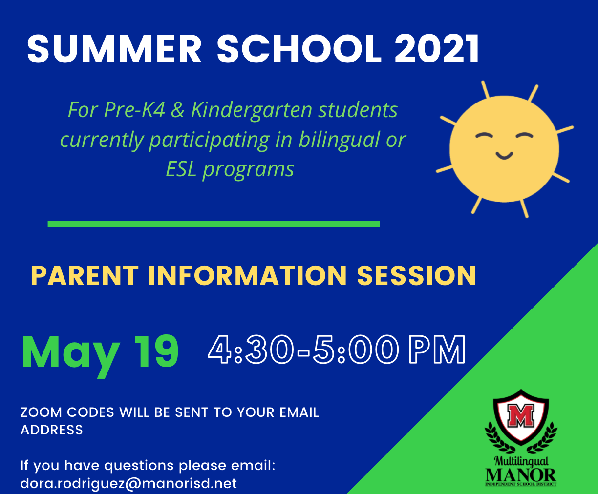 Summer School 2021 Parent Information Session May 19