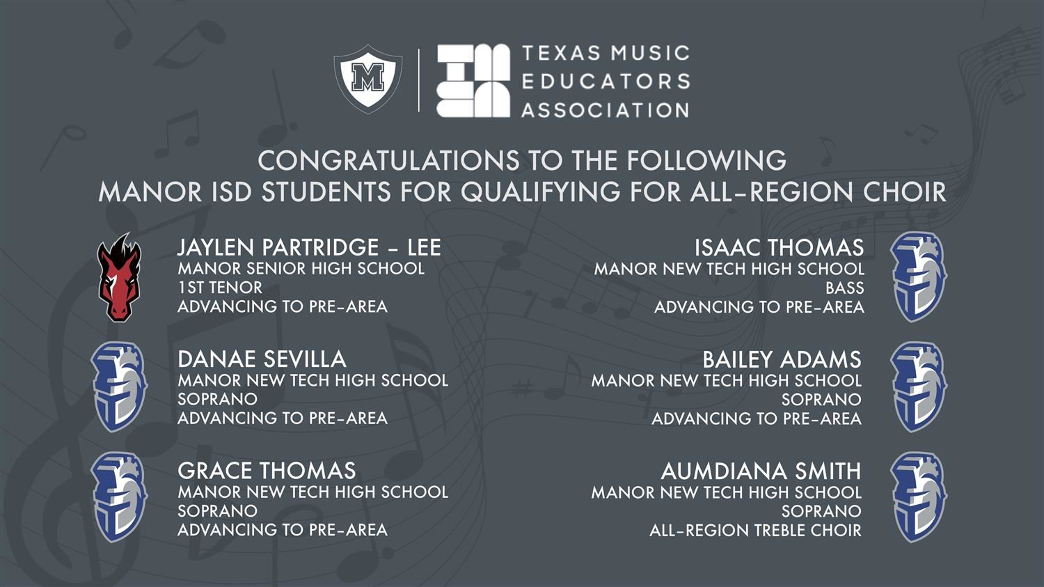 MISD High School Choral Students Advance to Pre-Area