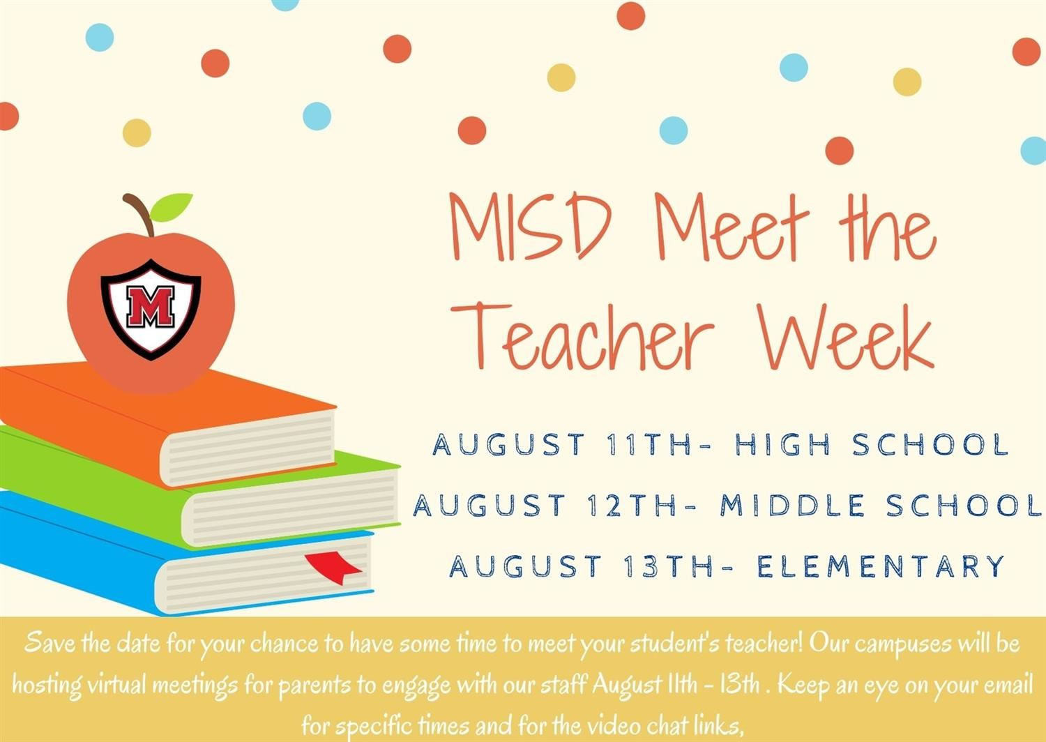 MISD Meet the Teacher Week Scheduled for August 11-13