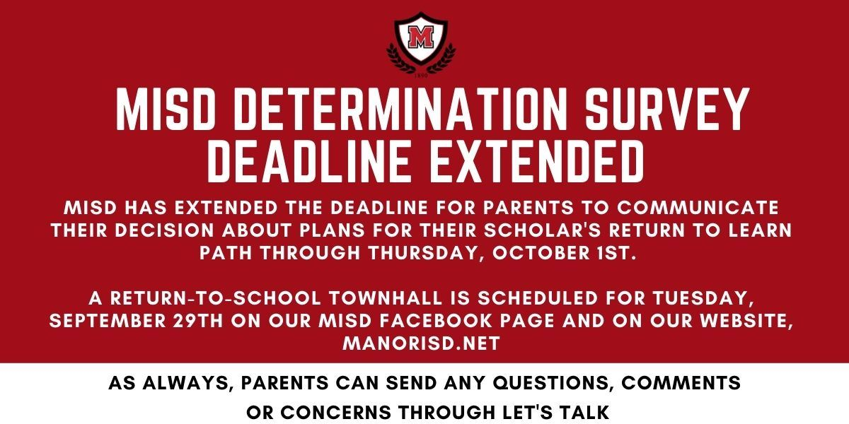 MISD Determination Survey Deadline Extended to Thursday, October 1st