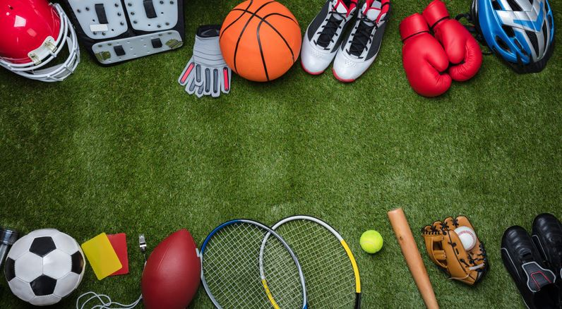 Various sports balls and equipment