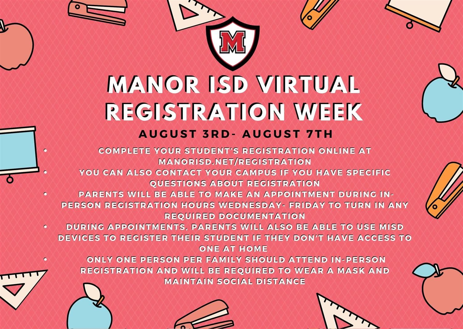 MISD to Host Virtual Registration Week August 3rd - August 7th