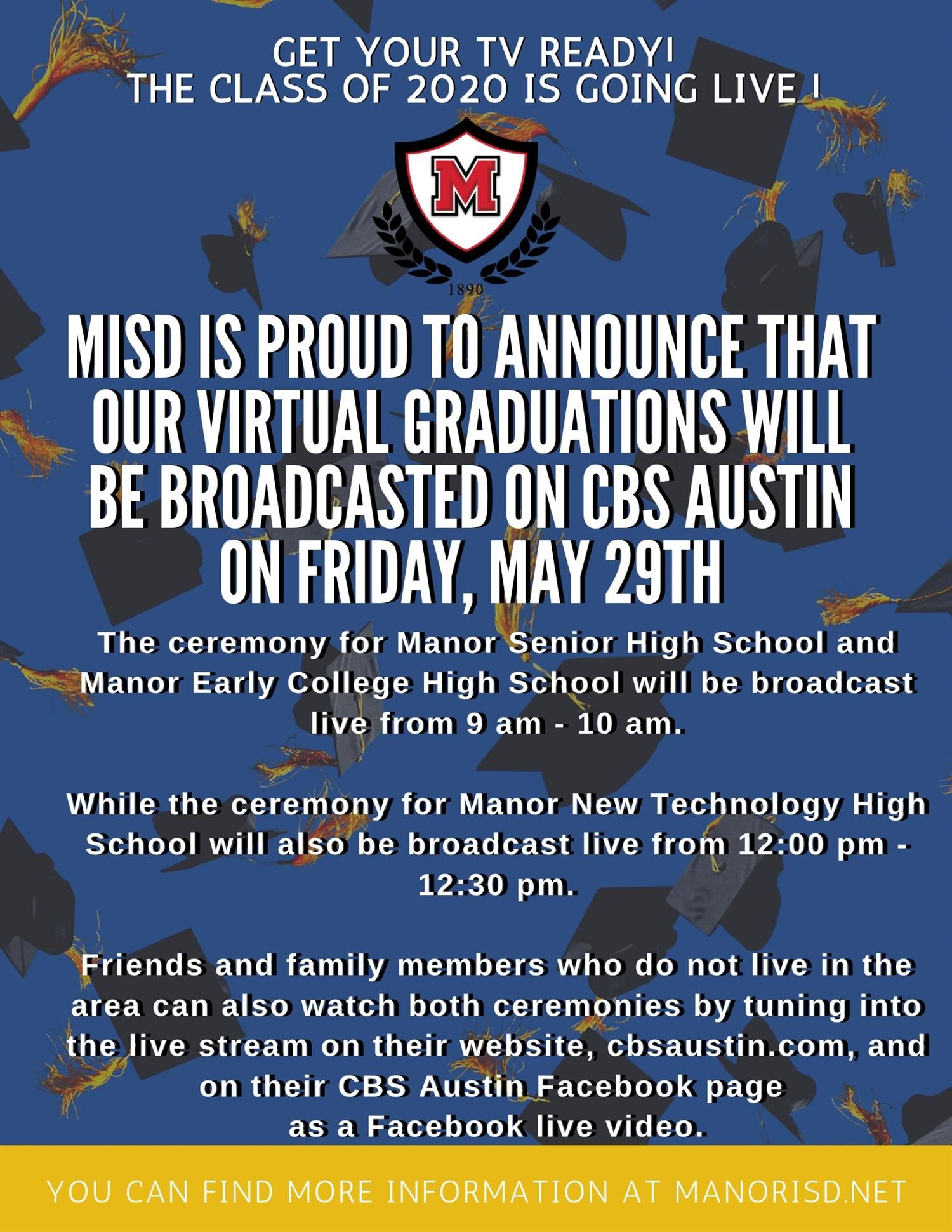 Manor ISD Class of 2020 Virtual Graduation to Air Live on CBS Austin