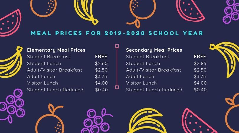 Meal Prices for 2019-2020
