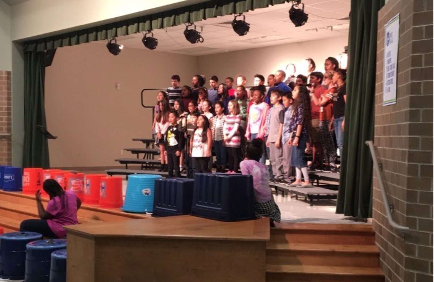 Bobcat Choir practicing for a performance