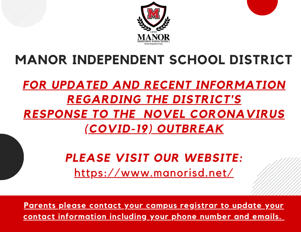 Manor ISD Campus Update Regarding COVID-19, Early Release (3/13/2020)
