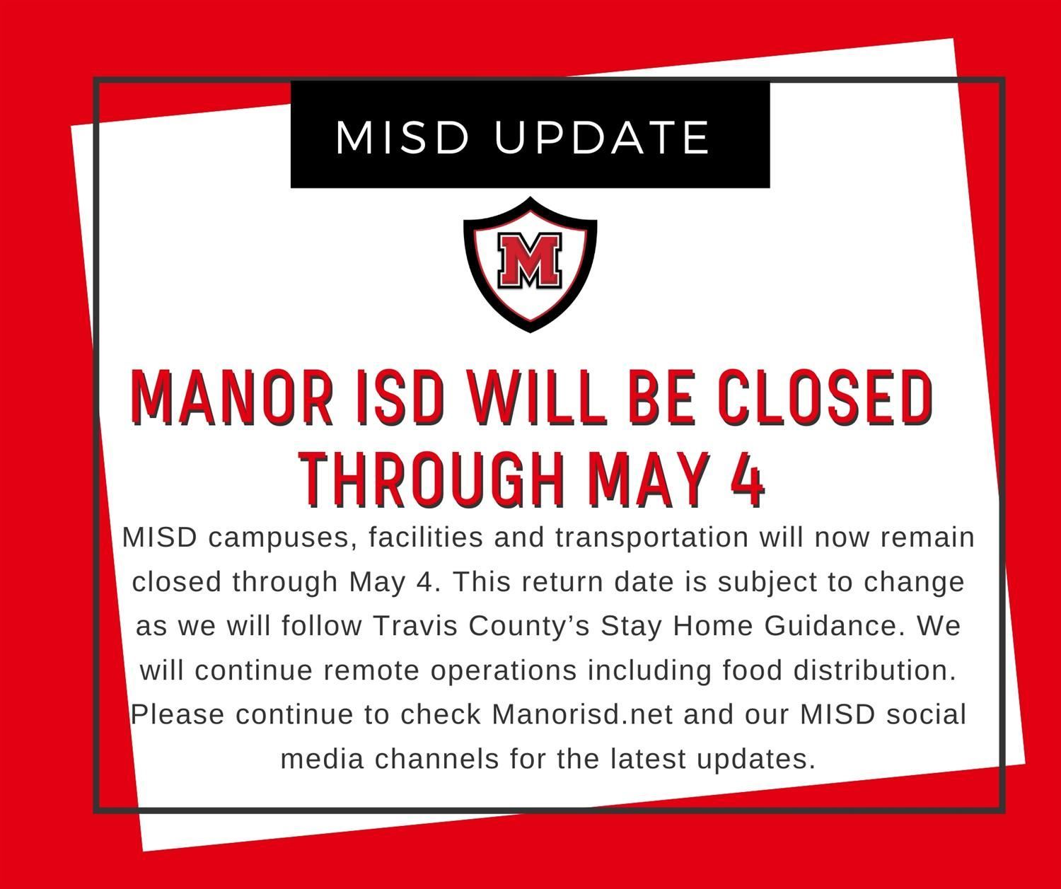 Manor ISD schools will remain closed through May 4